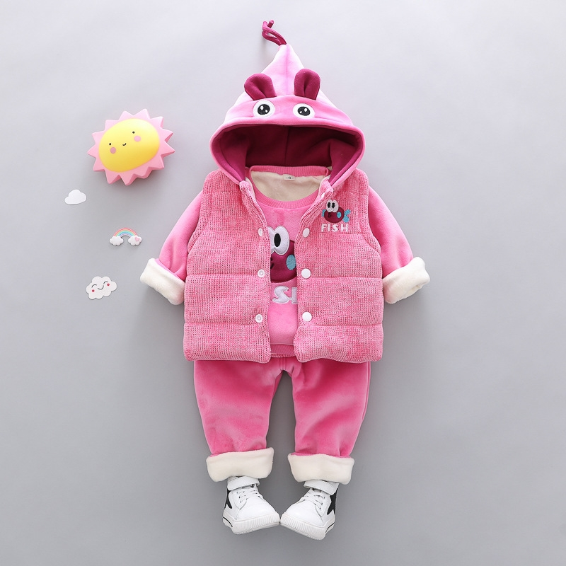 3a05a96147b5 RONI Winter baby girl warm thick clothes suit kids aweet veat+ coat+ ...