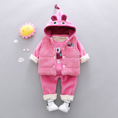 RONI Winter baby girl warm thick clothes suit kids aweet veat+ coat+pants three-piece set 01 80/s