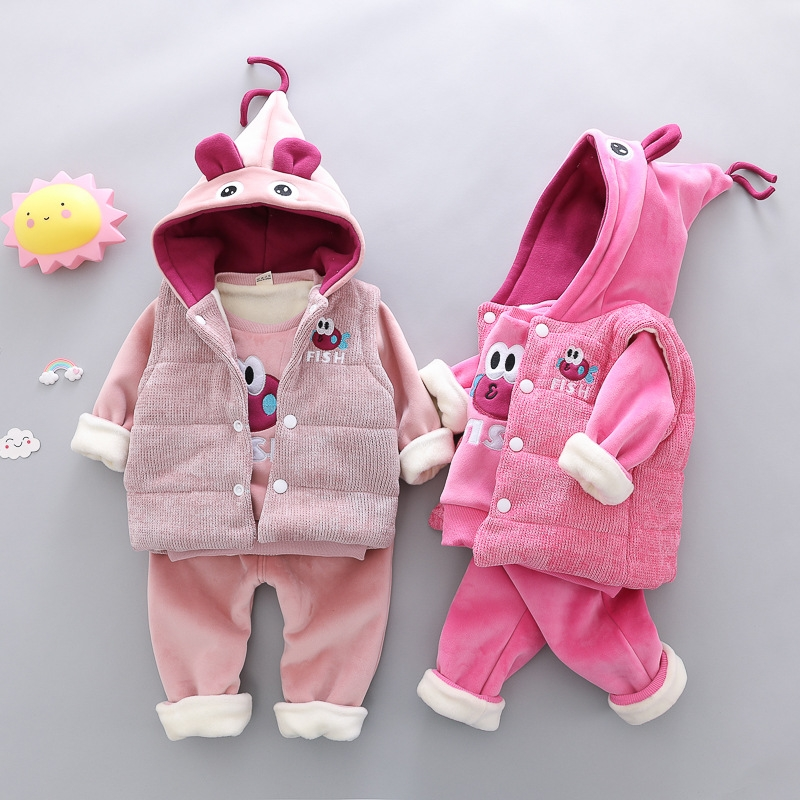 e491e8b79 RONI Winter baby girl warm thick clothes suit kids aweet veat+ coat+ ...