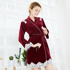 RONI Autumn lady warm robe women temperament  velvet pajamas girl home clothes 02 m
