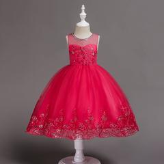 RONI Girl flower exquisite dress kids wedding dress flower girl  dress birthday party dress 01 90cm