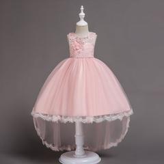 RONI Girl flower pearl  dress kids wedding dress flower girl grenadine dress birthday party dress 01 90cm