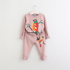 RONI Autumn baby girl 100% cotton clothes suit kids bird printing 01 100