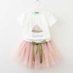 RONI Summer baby girl cotton clothes suit kids sweet T-shirt+bowknot mesh skirt two-piece set 01 100