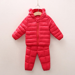 RONI Winter baby girl fashion warm cotton-padded clothes suit boy kids coat+pants two-piece set 01 80