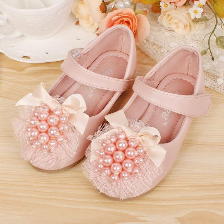 RONI Girls  pearl flat soles dress shoes princess shoes kids formal shoes students leather shoes 02 33