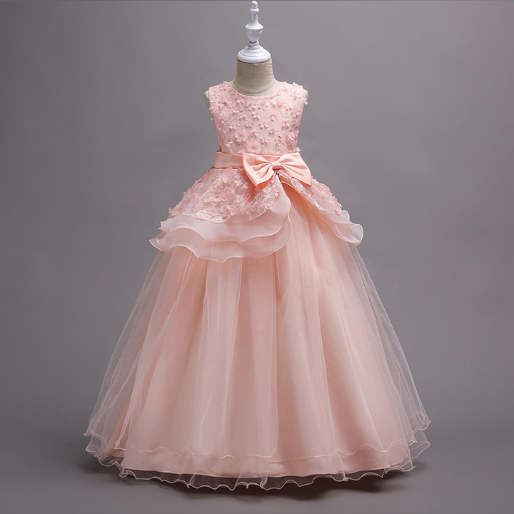 RONI Girl multilayer gauze flower dress wedding dress  birthday party dress kids formal clothing 01 120cm