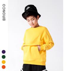 RONI Winter boys fashion thick warm coat kids pure color round collared tops 01 110cm