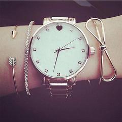 RONI Ladies fashion arrowhead bow tie diamond bracelet three-piece set wristwatch accessories 01 all code