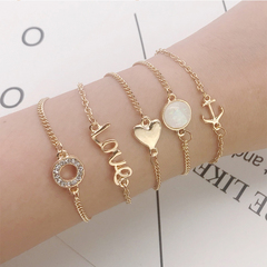 RONI Ladies fashion  bracelet suit  drill anchor  love bracelet five-piece set 01 all code