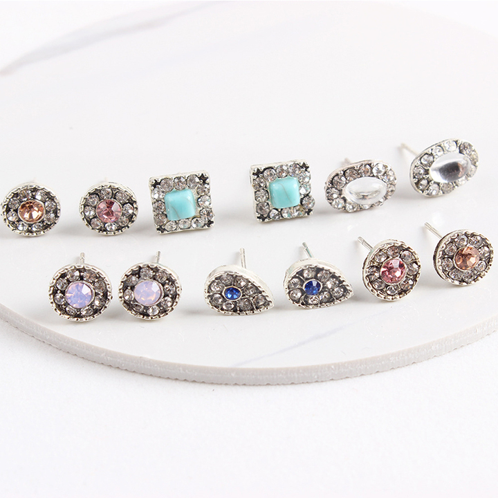 RONI 6 pairs ladies fashion vintage geometric drill water drop ear nail suit 01 all code