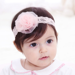 RONI Baby pink flower  elastic hair band 01