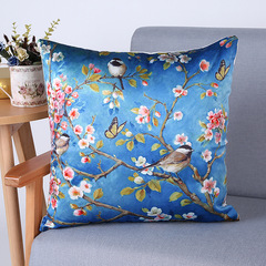 RONI Imitation silk digital printing pillowcase classical flower and bird pattern sofa cushion cover 01 45*45cm