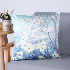 RONI Imitation silk digital printing pillowcase flower printing sofa cushion cover 01 45*45cm