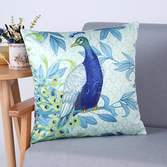 RONI Imitation silk digital printing pillowcase classical Peacock pattern sofa cushion cover 01 45*45cm