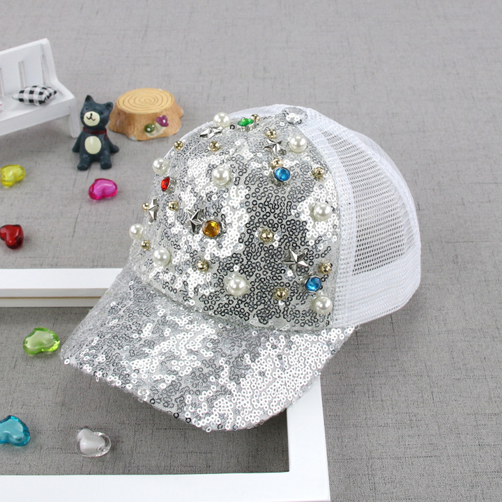 RONI Summer new girls fashion sequins pearl net cap sunshade hat 01 all code