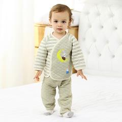 RONI Autumn baby girl 100 % cotton warm clothes suit boy cartoon T-shirt +  pants two-piece set 01 66cm