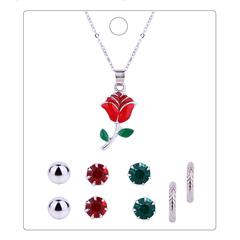 RONI Lady diamond necklace earrings five-piece set women sweet flower  jewelry suit 01 all code