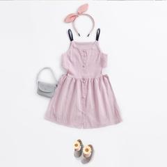 RONI Summer girl 100% cotton clothes kids sling dress 01 3-4/110cm