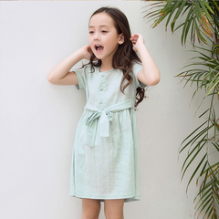 RONI Summer girl 100% cotton clothes kids sweet pure color dress 01 3-4/110cm