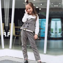 RONI Girls 100% cotton clothes suit kids plaid vest + trousers two-piece set 01 3-4/110cm