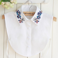 RONI Women fashion chiffon decorative collar  colorful crystal flower shirt collar 01 all code