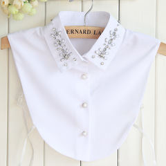 RONI Summer lady chiffon decorative collar  women fashion diamond shirt collar 01 all code