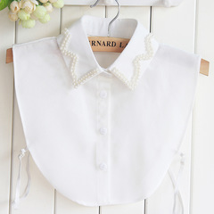 RONI Lady fashion chiffon collar women pearl  shirt decorative collar sweater accessories 01 all code
