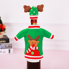 RONI 3set Christmas holiday table  decorations embroidery cartoon wine bottles cover 01 all code
