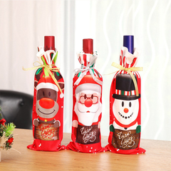 RONI  3pcs Christmas holiday table decorations  cartoon wine bottles cover  Christmas party supplies 01 all code
