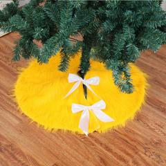 RONI Golden Christmas Tree Skirt  High-end Plush Christmas Tree Decoration 01 78CM