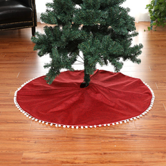 RONI Christmas Tree Decoration High-end White Ball Red Linen  Christmas Tree Skirt 01 all code