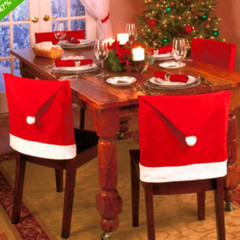 RONI 2pcs Christmas table decoration Christmas big hat Christmas chair cover 01 2pcs