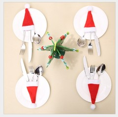 RONI 4pcs Christmas table decorations mini Christmas cap   cutlery covers Christmas bottle cap 01 4pcs
