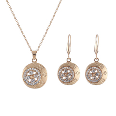 RONI Lady exquisite fashion elegant  diamond jewelry set necklace + earrings two-piece set 01 all code