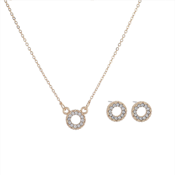 RONI Lady exquisite fashion elegant  diamond jewelry set necklace + earrings two-piece set 02 all code