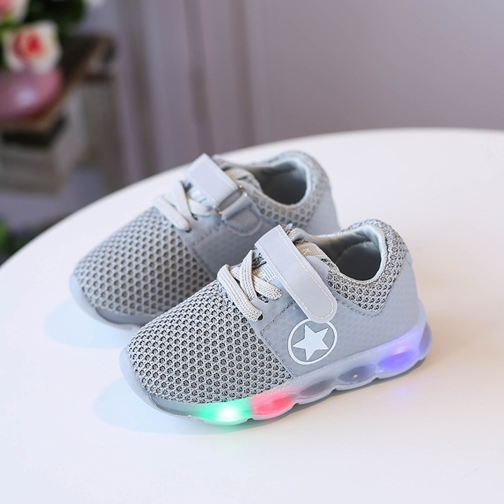 RONI Baby boy fashion glowing casual shoes girl kids LED flash breathable sports shoes 01 29
