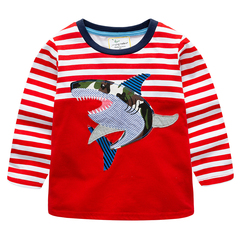 RONI Spring boy 100% Cotton T-shirt Baby  cartoon shark stripes T-shirt Kids Clothes 01 18m 100% cotton