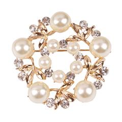 RONI Fashionable temperament elegant brooch diamond pearl silk scarf buckle 01 all code