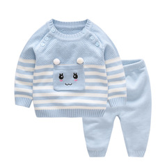RONI Autumn Baby 100 % Cotton Clothes Set Girls Cute Sweaters Set Boys Tops+Pants two-piece set 01 66cm