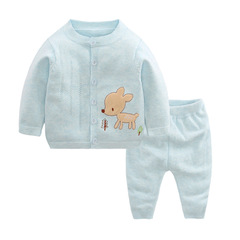 RONI Spring  Baby  Cotton Clothes Set Girls Deer Sweaters Set Boys Tops+Pants two-piece set 01 66cm