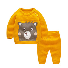 RONI Autumn Baby 100%Cotton Clothes Set Girls Bear Sweaters Set Boys Tops+Pants two-piece set 01 66cm