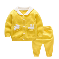 RONI Spring Baby Cotton Clothes Set Girls Rabbit Sweaters Set Boys Tops+Pants two-piece set 01 66cm