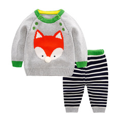 RONI Autumn  Baby 100%Cotton Clothes Set Girls Fox Sweaters Set Boys Tops+Pants two-piece set 01 73cm