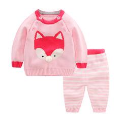 RONI Autumn  Baby 100%Cotton Clothes Set Girls Fox Sweaters Set Boys Tops+Pants two-piece set 02 73cm