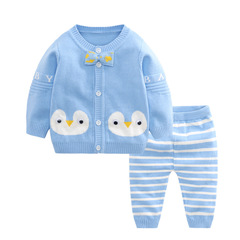 RONI Spring Baby Cotton Clothes Set Girls Cartoon Sweaters Set Boys Tops+Pants two-piece set 01 66cm