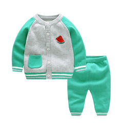 RONI Spring Baby 100% Cotton Clothes Set Girls Fruit Sweaters Set Boys Tops+Pants two-piece set 01 73cm