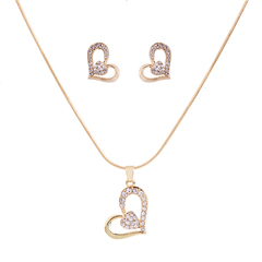 RONI Lady diamond necklace earrings two-piece set women sweet love style jewelry suit 01 all code