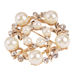 RONI Fashionable temperament elegant brooch diamond pearl silk scarf buckle 01 all code
