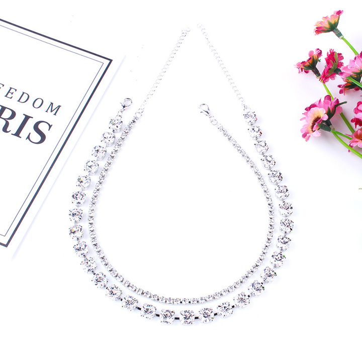 RONI Ladies luxury diamond necklaces women necklaces two-piece set dress accessories. 01 all code